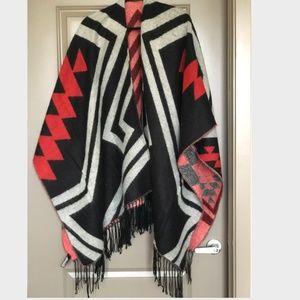 Express Jackets & Coats - Express Aztec Design Poncho w/ Fringe